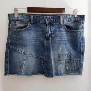Calvin Klein | 29/8 denim patch raw hem jean skirt
